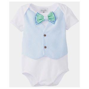 MudPie Baby Seersucker Vest Tie Crawler Onesie 6/9